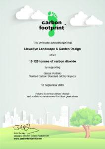 Carbon Offset Certificate for Llewellyn Landscape & Garden Design